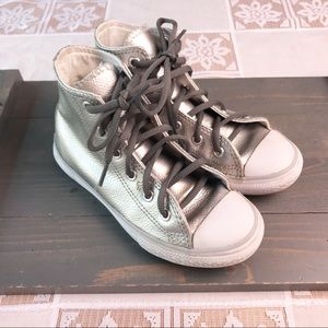 Converse Silver Leather High Top Shoes Youth 13